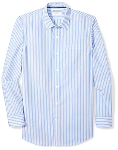 Amazon Essentials Slim-fit Wrinkle-Resistant Long-Sleeve Stripe Dress Shirt Chemise Habillée,...