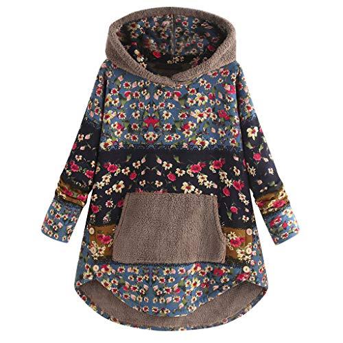 Kabeloring Sweat à Capuche Femme,Hoodies Patchwork Imprimé Floral Pull en Cachemire...