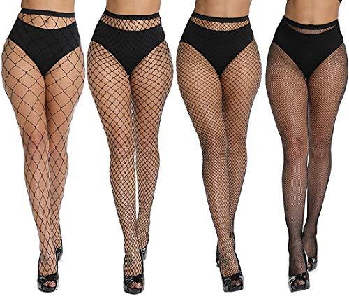 Dreshow Bas en résille sans couture en nylon - -,Taille unique,Multicolore-4 Pair Pantyhoses 4 Style Fishnet prix et achat