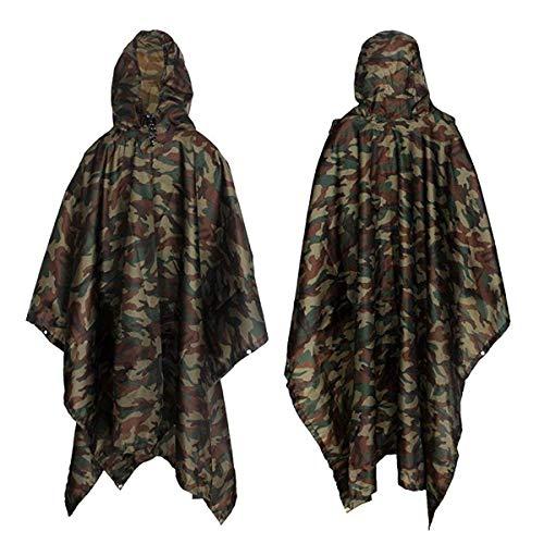 Yesloo Poncho imperméable multifonctionnel extra-long 3-en-1, imperméable unisexe, tapis de sol pour tente, bâche pare-soleil, cape imperméable camouflage pour pique-nique en camping (Camouflage)