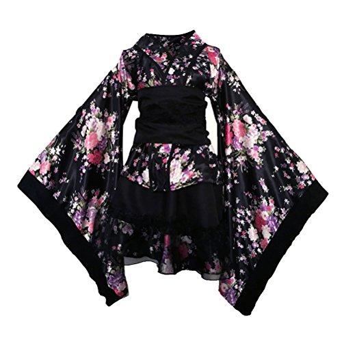 LUOEM Robe de Maid traditionnelle japonaise Kimono Cosplay Outfit Costume de demoiselle taille...