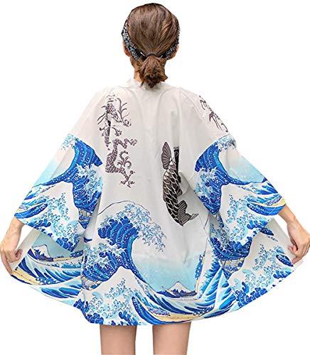 DOVWOER Kimono d'été pour femme Veste légère avec manches 3/4 Style décontracté Parfait pour la plage - Blanc - taille unique