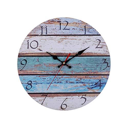 HuaCat Horloge Murale en Bois 30cm - Horloge Vintage Silencieuse...