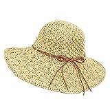 Wilxaw Chapeau de Paille Pliable Femme Anti-UV, Dame Paille Panama Capeline Bord Large, Mode Plage Capeline Bow Décoration (Beige)