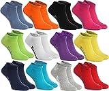 Rainbow Socks - Femme Homme Chaussettes Courtes en Coton - 12 Paire - Noir Blanc Gris Violet Bleu Jeans Bleu Orange Rouge Jaune Vert Fuchsia - Taille UE 42-43