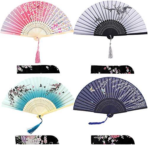 iZoeL 4 Pièces Eventail Bambou Blossom Pattern Cadeaux de...