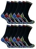 Sock Snob 3, 6, 12 paires homme coton bambou anti transpiration respirant chaussettes de travail avec renforcees bottes de sécurité (39-45 EU, BWS 12 Pairs)