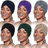 6 Pièces Turbans pour Femmes Turban Enveloppement de Tête Doux Bonnet Plissé Chapeau de Perte de Cheveux (Noir, Bleu Foncé, Beige, Gris, Violet, Bleu Marine),Taille unique