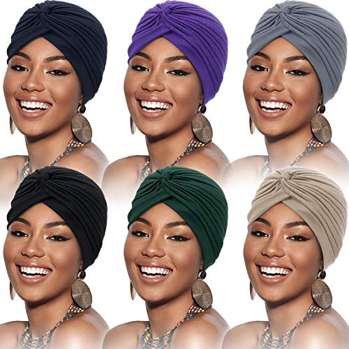 6 Pièces Turbans pour Femmes Turban Enveloppement de Tête Doux Bonnet Plissé Chapeau de Perte de Cheveux (Noir, Bleu Foncé, Beige, Gris, Violet, Bleu Marine),Taille unique prix et achat