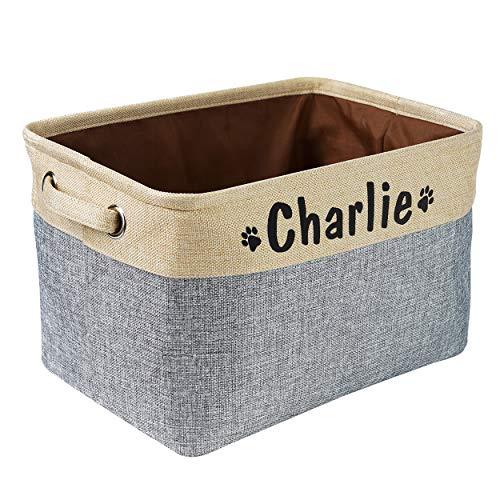 Panier de rangement pliable pour jouets pour chien avec nom personnalisé – Boîte de...