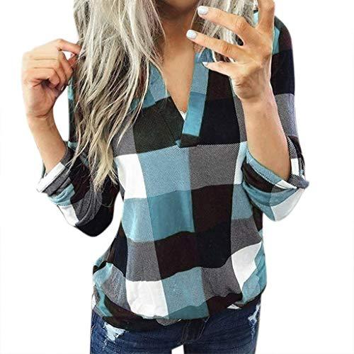 Femmes Tops Casual Plaid Chemise à manches longues Col montant Slim Veste Blouse (XL, bleu ciel)
