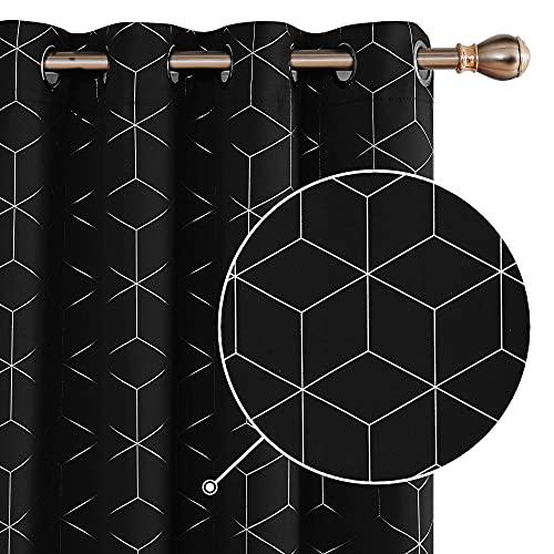 Deconovo Lot de 2 Rideaux Occultants Noir a Oeillets Isolant Thermique Rideaux Motif Geometique Imprimés Argents Rideau Salon Moderne 117x229cm