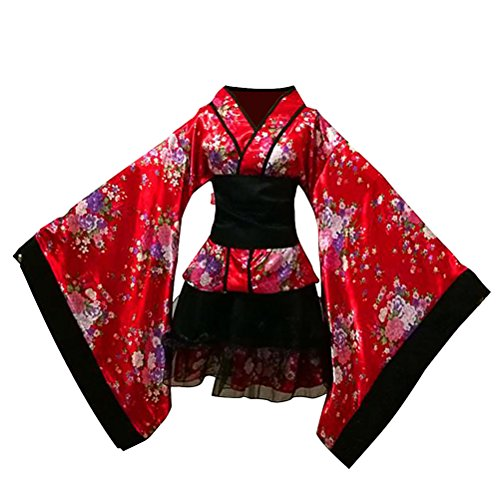 LUOEM Robe de Maid Traditionnelle Japonaise Kimono Cosplay Tenue Costume Robe Taille S (Rouge)