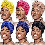 6 Pièces Turban Africain de Femmes Bonnet Nœud de Fleur Bonnet Pré-Noué Headwrap (Noir, Bleu Royal, Rose, Chameau, Marine, Jaune)