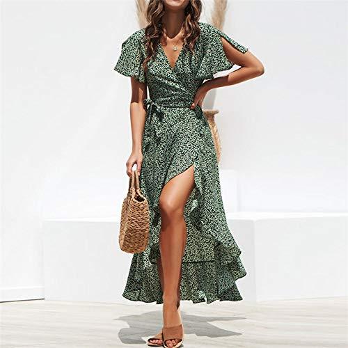 Femme Robe,Robe Longue Cache-Cœur À Imprimé Floral De Style Bohème Vert Fendue sur Le Côté, Vert, XL prix et achat