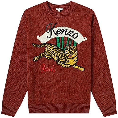 Kenzo Pull tricoté Tigre de Bambou Burgundy Meduim