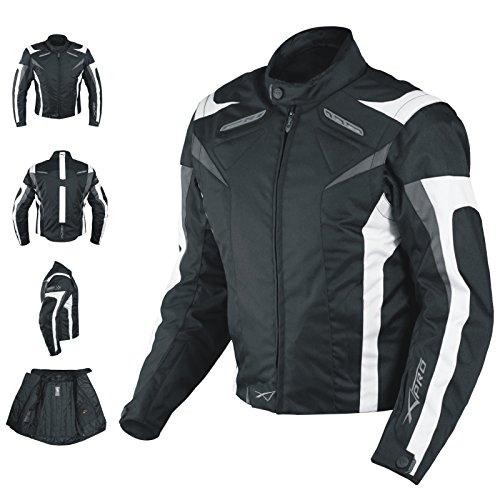 A-pro Veste de moto sport avec protections homologuées CE, gilet thermique, noir et blanche...