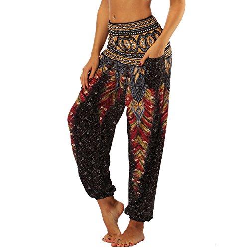 Nuofengkudu Femme Harem Pantalon Sarouel Thaïlandais Hippie Baggy Léger Boho Ethnique Smockée Taille Haute avec Poches Yoga Pants Été Plage ,Noir Paon,Taille unique
