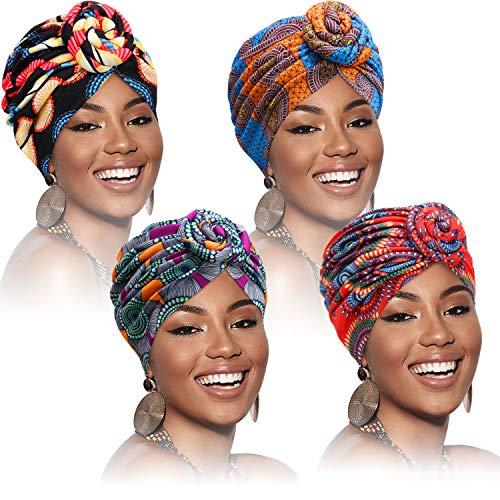 4 Pièces Bandeau à Motif Africain Bonnet Pré-Attaché Bonnet Turban Nœud
