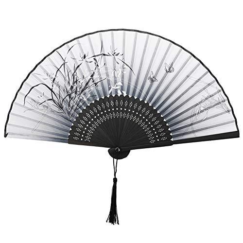 VICKSONGS Pliant Ventilateur, Japonais Soie Eventail Pliants Bambou Ventilateur à Main pour Danser Mariage Mur Décoration Fête Cadeau (Blanc)