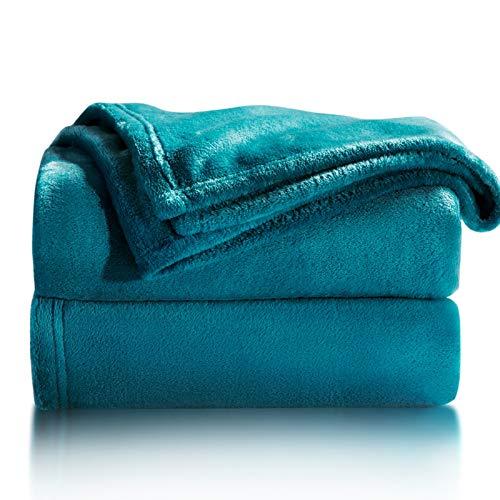Bedsure Plaid Couverture Polaire Turquoise 150x200 cm - Couverture de Lit Douce et Chaude Plaid Jeté de Canapé Flanelle