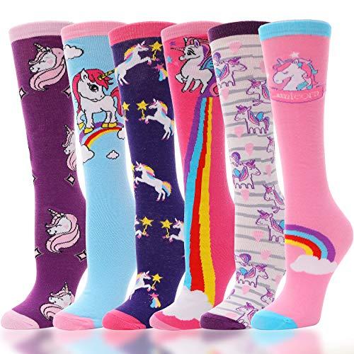 ANTSANG Chaussette haute fille 6 paires pour enfants Chaussettes longues en coton fantaisie animaux rigolote 3-12 ans (licorne H, 3-12 ans)