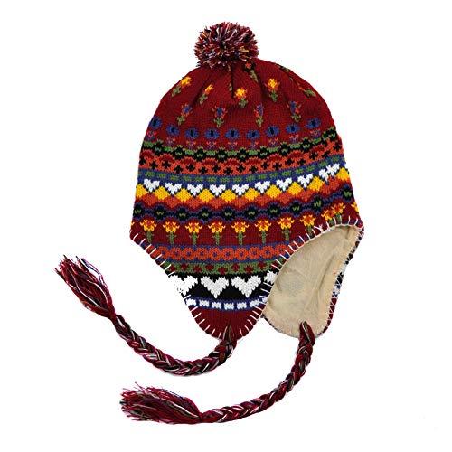 Bonnet péruvien doublé intérieur en Polaire Taille Unique 56 58cm Environ Chaud Trapper Neuf Froid Hiver Hommes Femmes Ski Neige ref:1542A (Rouge)