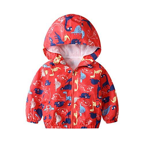 JinBei Garçon Blouson Dinosaure Manteau Capuche Veste Enfant Sweat-Shirt Zipper Poche Pull-Over Longue Manche Rouge Imperméables Mince Manteaux Mignon Outwear Printemps Automne Coupe-Vent 3-4 Ans