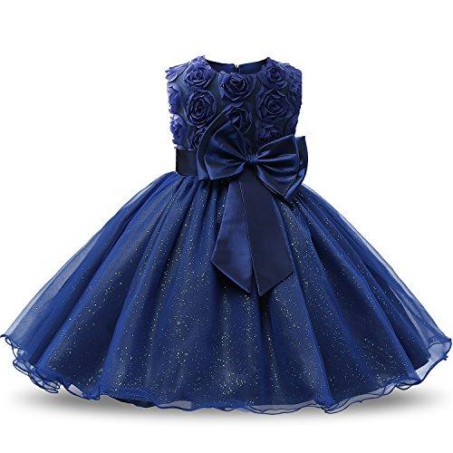 NNJXD Tutu Robes sans Manches Dentelle 3D Fleur pour Princesse ,Bleu Foncé,3-4 Ans (Taille Fabricant: 120) prix et achat
