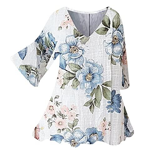 Zldhxyf T-shirt en lin pour femme - Élégant - Manches longues - Décontracté - Couleur unie, Blanc., M prix et achat