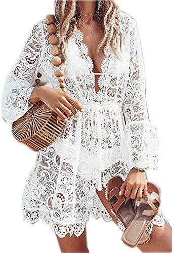 LATH.PIN Robe de plage sexy en dentelle et col en V pour femme - Pour l'été, Blanc., M prix et achat