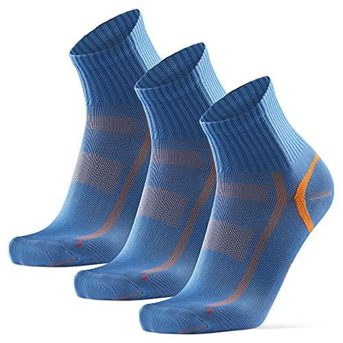 DANISH ENDURANCE Chaussettes de Sport Quarter Pro (EU 43-47, Bleu/Orange - 3 Paires)