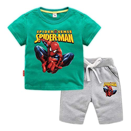 ZYZQ Spiderman Garçons à Manches Courtes 100% Coton T-Shirt et Costume Court Pantalon, Loin...