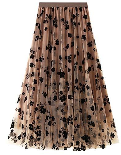 FEOYA Jupe Plissée en Mousseline de Voile Jupe Femme Trapèze Mi Longue Femme pour Printemps-Eté Marron,Taille Unique prix et achat