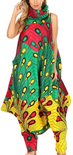 Sakkas 19034 - Loa pour Femmes - Robe Maxi-Jupe à imprimé Sarouel Africain pour Femmes - 51-Multi - OS