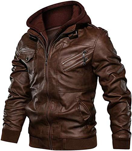 MEHOUSE Blouson Homme Sweatshirt, Veste en Cuir PU avec Capuche pour Hommes, Amovible Manteau Chaud Automne Hiver Bomber Biker Veste Mens Hooded Leather Jacket prix et achat