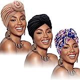 3 Pièces Turban Africain pour Femme Bonnet Pré-Noué Noué Bonnet Headwrap (Noir, Fleur Bleue, Kaki)
