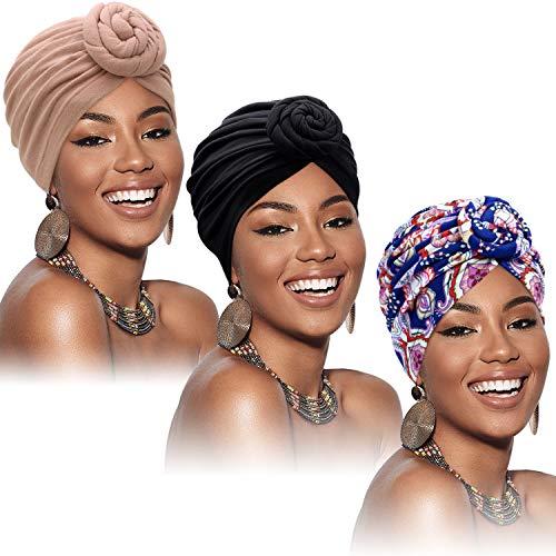 3 Pièces Turban Africain pour Femme Bonnet Pré-Noué Noué Bonnet Headwrap (Noir, Fleur Bleue, Kaki) prix et achat
