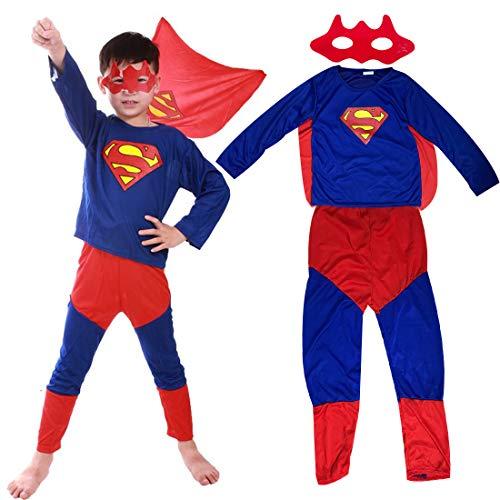 Superhero Superman Classic Superman Fancy Dress Costume Spiderman Bandeau + Pantalon + manteau - Ensemble de Costumes pour enfant - Parfait pour Carnaval & Cosplay (Hauteur 100-150cm)