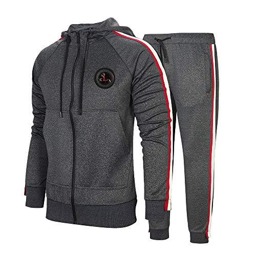 Aotorr Survêtement Homme Ensemble Sweat-Shirt à Capuche et Pantalon de Sport Jogging Gris foncé XL