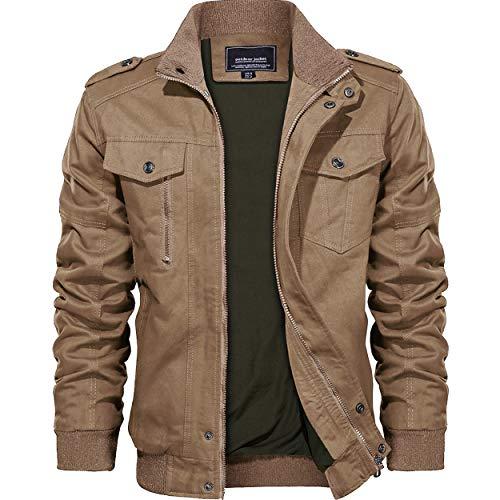 KEFITEVD Veste Moto Homme Hommes Outwear Hiver Cargo Militaire Tactique Vestes Multi-Poche...