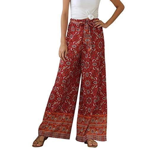 Pantalon Large Fluide Femme été Femme Fleur Vintage Pantalon de Sport Longue Lâche Fitness...
