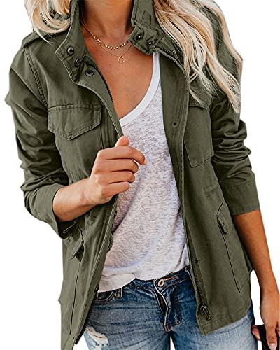 Imily Bela Veste Femme Militaire Blouson Parka pour Femme Mi-Saison Manteau Court Utility Jacket
