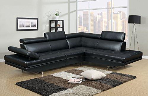 Mobilier Deco Canapé d'angle Design Noir 6 Places (Angle Droit)