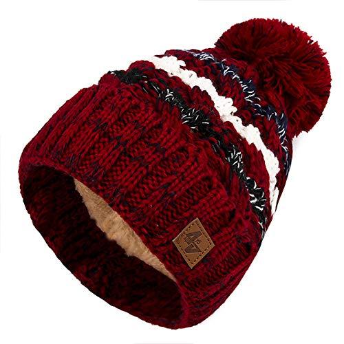 4sold Hommes Lady Bonnets Bonnet Fourré Hiver pour Femme Bonnet Tricoté et Gros Pompon...