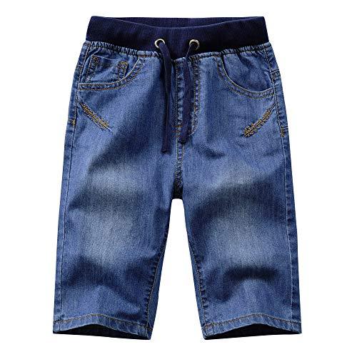 YoungSoul Bermudas garçon Jeans - Short en Jean avec élastique à la Taille - Pantacourt Denim ete Enfant Bleu 164/13-14 Ans