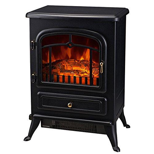 HOMCOM Cheminée électrique poêle Style rétro Thermostat 900-1800 W Noir