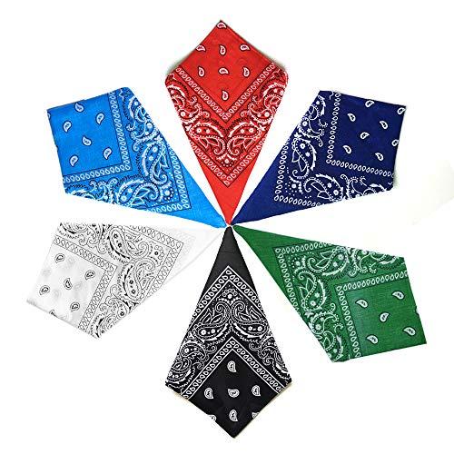 Ealicere 6 pièces Bandana foulard accessoire vêtement, Coton Cheveux Bandeau Bandannas, 20.5...