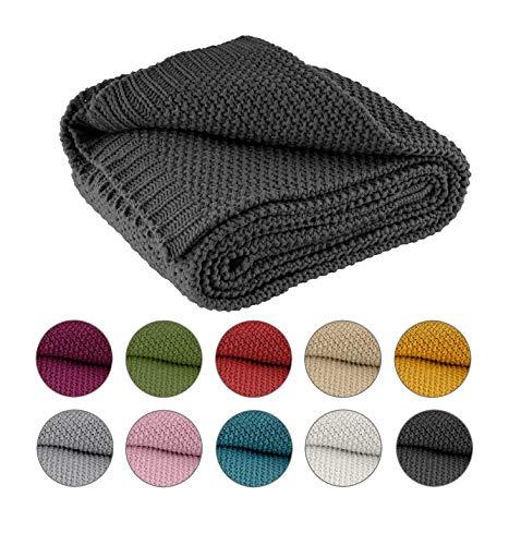 Plaid tricoté 140 x 190 cm gris foncé - Couverture tricotée OekoTex chaude et douce collection automne-hiver 20/21 cadeau de Noël gris foncé