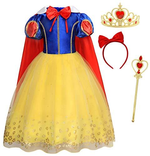 AmzBarley Robe de Princesse Blanche Neige Costume Fille Habiller Enfant Cosplay Fête Déguisement Anniversaire Carnaval, Jaune 93+005, 5-6 Ans, 120